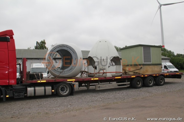 Heavy-duty transport of the NEG Micon wind turbine  from Germany to Kazakhstan.