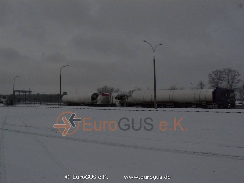 Heavy and oversized transport of a wind turbine Vesta Belarus